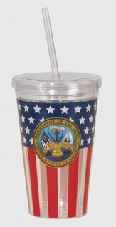 Army, Flag Tumbler, with Straw