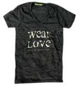 Wear Love Shirt, V Neck, Eco Black, Medium