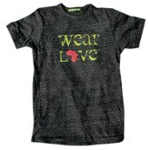 Wear Love Africa Shirt, Crew Neck, Gray, Extra Small