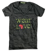 Wear Love Africa Shirt, V Neck, Eco Black, Extra Small