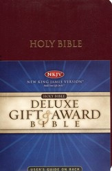NKJV Gift & Award Bible, Imitation leather, Burgundy  - Imperfectly Imprinted Bibles
