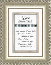 Love Never Fails (silver frame)