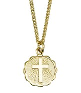 Disc with Cross Necklace, Gold Filled