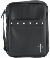 Cross and Studs Bible Cover, Black, Medium
