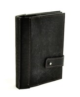 Leather Journal with Photo Sleeves, Black