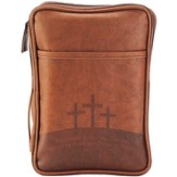 Golgotha, Three Crosses Bible Cover, Brown