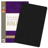 King James Version Thinline Zippered Collection Bible, Bonded Leather, Black