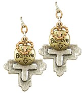 Heart, Believe, Cross Tri-Tone Earrings