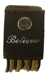 Believe, Hemp and Leather Pewter Word Bracelet