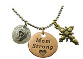 Mom Strong, Heart, Cross, Tri-Tone Necklace