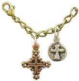 Filigree Cross, Wax Seal Cross, Tri-Tone Bracelet