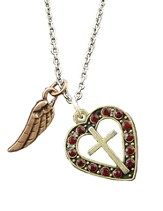 Heart and Cross Crystal Necklace, Ruby
