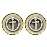 Cuff Links-Pewter Budded Cross
