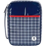 Plaid Bible Cover, Navy and Red, Large