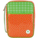 Polka Dot Bible Cover, Orange and Green, Large