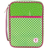 Checkered Bible Cover, Green and Pink, Large