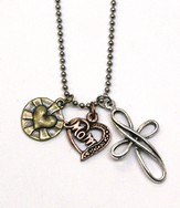 Mom, with Cross and Heart, Tri-Tone Necklace