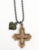 Love Cross with Heart, Two-Tone Necklace