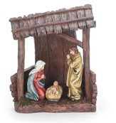 Holy Family in Creche Figurine with Light