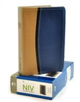 NIV Study Bible, Soft Leather-look, Tan/Blue Thumb-indexed