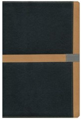 NIV Study Bible--soft leather-look, black/camel