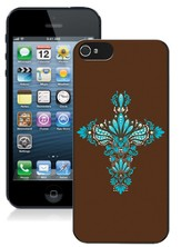 Cross iPhone 5 Case, Brown and Blue