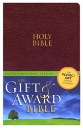 NIV Gift & Award Bible, Burgundy,Leather-Look  - Imperfectly Imprinted Bibles