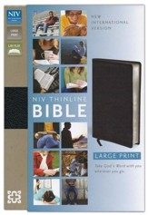 NIV Thinline Large-Print Bible--bonded leather, black