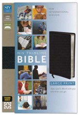 NIV Thinline Large-Print Bible, bonded leather-black Thumb-Indexed