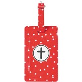 Luggage Tag with Cross, Red