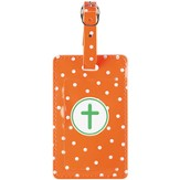 Luggage Tag with Cross, Orange