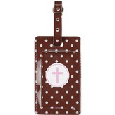 Luggage Tag with Cross, Brown
