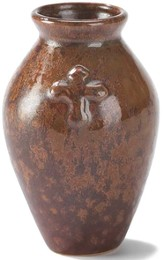Stoneware Vase, Cross Design, Brown