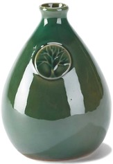 Stoneware Vase, Tree Design, Green