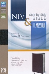 NIV and The Message Side-by-Side Bible: Two Bible Versions Together for Study and Comparison, Bonded Leather, Black - Imperfectly Imprinted Bibles