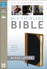 NIV Thinline Bible, Italian Duo-Tone, Tan/Black  - Imperfectly Imprinted Bibles