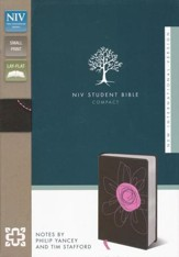 NIV Student Bible, Compact, Italian Duo-Tone,  Espresso/Pink Flower - Slightly Imperfect