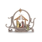 Joy Figurine with Creche and Holy Family, Sandstone Color