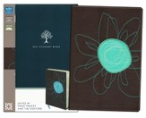 NIV Student Bible, Italian Duo-Tone, Espresso/Turquoise Flower - Imperfectly Imprinted Bibles