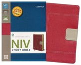 NIV Study Bible, Compact, Imitation Leather, Red Tan