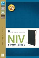 NIV Study Bible, Genuine Cowhide Leather, Ebony - Slightly Imperfect