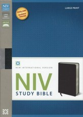 NIV Study Bible, Large Print, Bonded Leather, Black - Imperfectly Imprinted Bibles