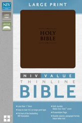 NIV Premium Value Thinline Large Print Bible, Imitation Leather, Chocolate
