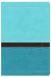 NIV Study Bible, Large Print, Imitation Leather, Turquoise Caribbean Blue - Imperfectly Imprinted Bibles