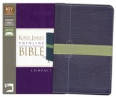 KJV Thinline Bible Compact, Italian Duo-Tone, Midnight Blue/Moss Green