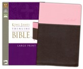 KJV, Thinline Bible, Large Print, Italian Duo-Tone, Pink/Chocolate - Imperfectly Imprinted Bibles