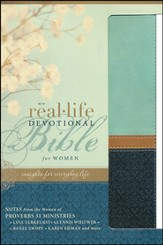 NIV Real-Life Devotional Bible for Women: Insights for Everyday Life, Italian Duo-Tone, Sea Glass/Deep Sea - Slightly Imperfect