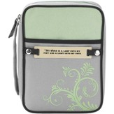 Swirl Design Bible Cover with Interchangeable Verse Tags, Green and Gray, Medium