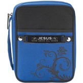 Swirl Design Bible Cover with Interchangeable Verse Tags, Black and Blue, Large