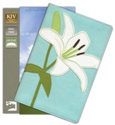 KJV Thinline Bloom Collection Bible, Compact, Italian Duo-Tone, White Lily - Slightly Imperfect